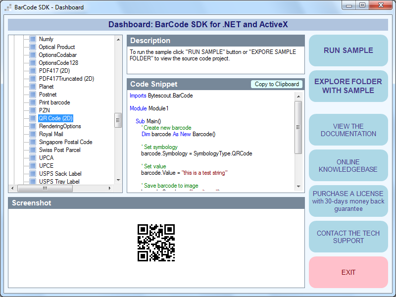 ByteScout BarCode Generator SDK for  NET - Visual Studio